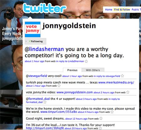 Jonny's tweet that Linda is a worthy competitor