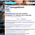 Jonny Goldstein tweets that Linda Sherman is a worthy competitor