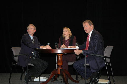 John Doerr, Esther Dyson, Charlie Rose pre-taping a Charlie Rose Show at Technet 2005