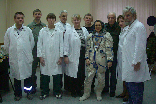 Esther Dyson with Spacesuit and Seat Mold Fitting Specialists in Russia