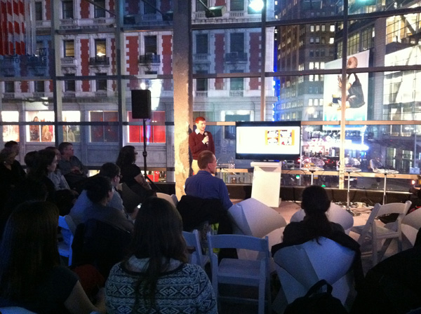 Harrison Kratz Presenting for TweetDrive at CM Meetup - iPhone photo by Linda Sherman