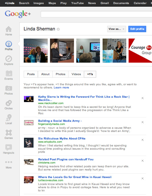 GooglePlus plus one tab image