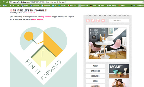 Pinterest Pin It Forward Launched May 2010 on SFGIrlbyBay website