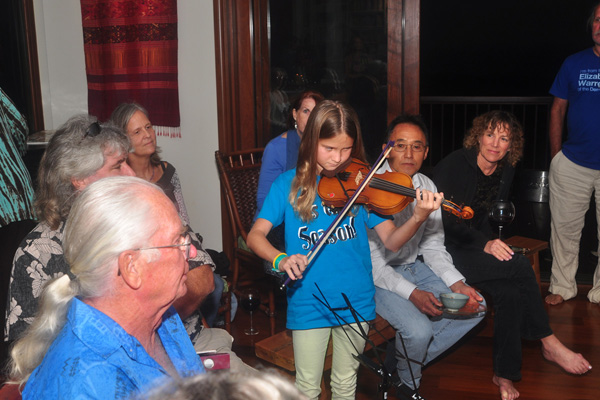 playing violin for Dad birthday