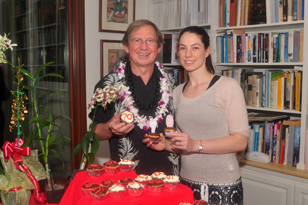 Michael with daughter Lucille and birthday cupcakes
