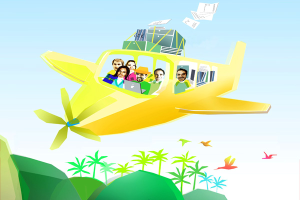 The Trip.me startup arrival with CMO Yngrid Arnold alongside CEO Andre Kiwitz. Image of plane