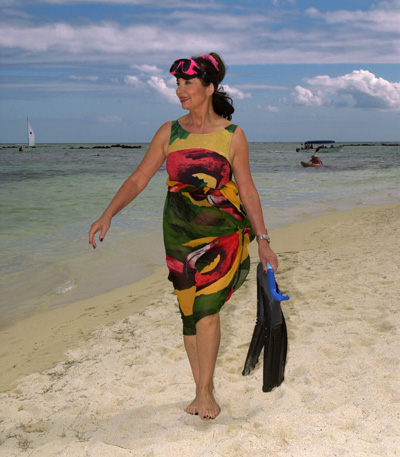 Francoise Morechand About to Snorkel at Club Med Mauritius