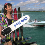 Francoise Morechand setting off to waterski at ClubMed Mauritius