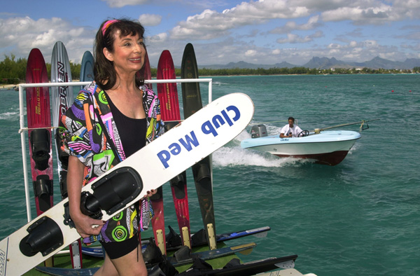 Francoise Morechand setting off to waterski at Club Med Mauritius