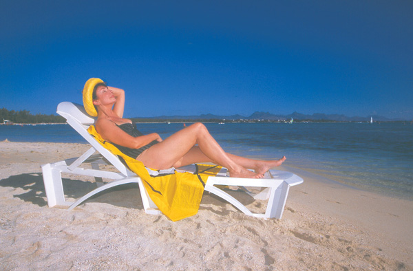 Francoise Morechand on the beach at Club Med Mauritius