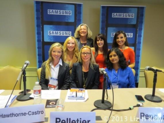 Panelists Jessica Hawthorne-Castro, Debra Fine, Saundra Pelletier, Julie Spira, Leena Pendharkar and Silvia Davi with Moderator, Linda Sherman