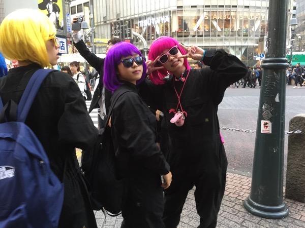 Girls posing in Halloween costumes Shibuya Tokyo Japan