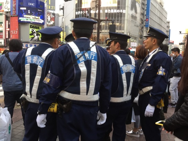 Crowd control for Halloween at the ready in Shibuya Tokyo Japan
