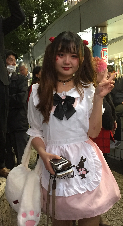 Alice in Wonderland. Shibuya Tokyo Halloween costume.