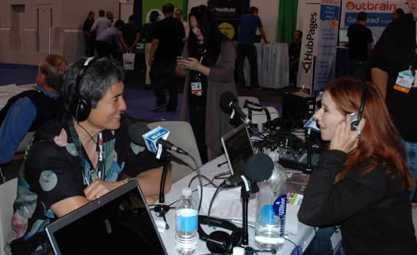Marsha Collier interviewing Guy Kawasaki for TechRadio during a tech conference